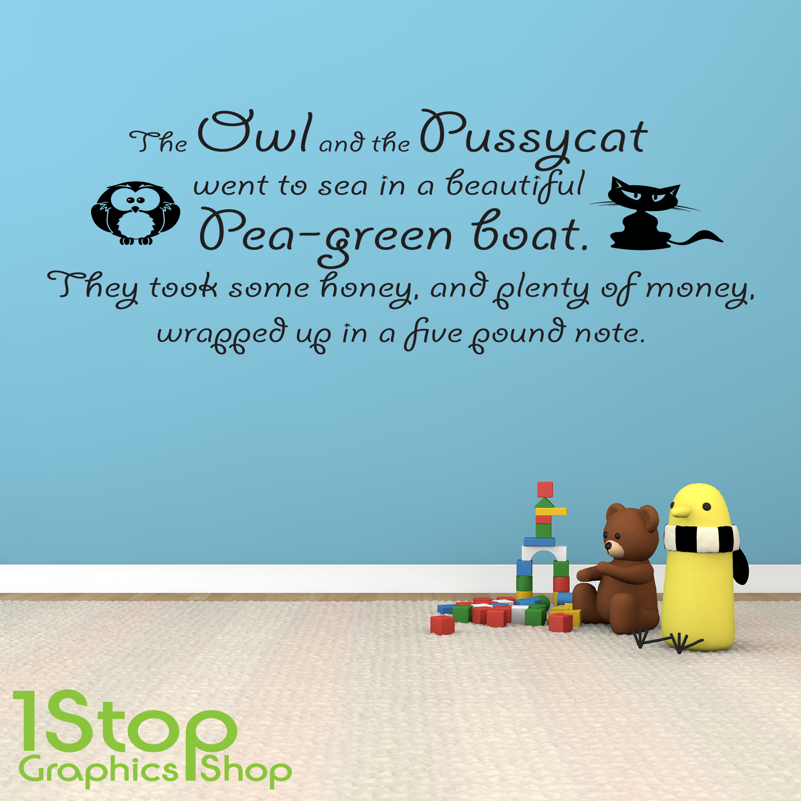 the owl and the pussycat wall sticker quote kids nursery wall item specifics