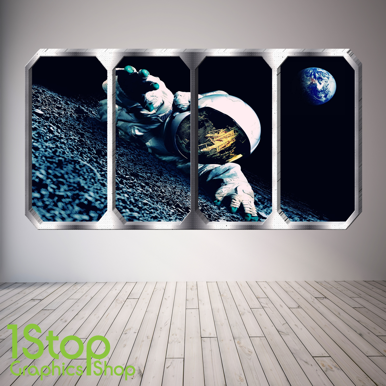 SPACE PLANET WINDOW WALL STICKER FULL COLOUR EARTH PLANETS SPACE SHIP SP30