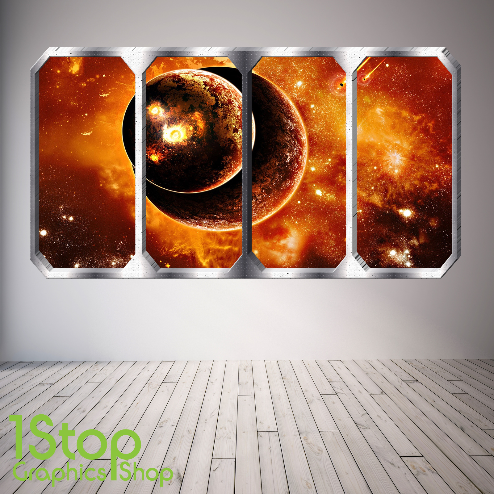 SPACE PLANET WINDOW WALL STICKER FULL COLOUR EARTH PLANETS SPACE SHIP SP6