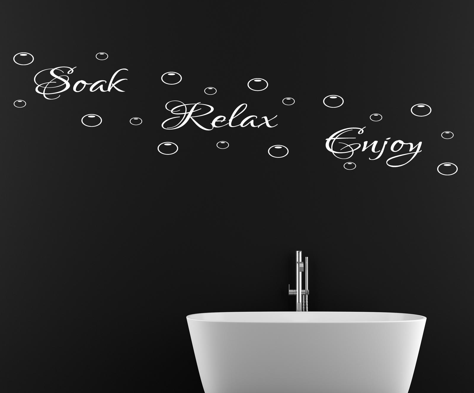 Soak Relax Enjoy Wall Sticker Quote Bathroom Shower Wall Art Decal