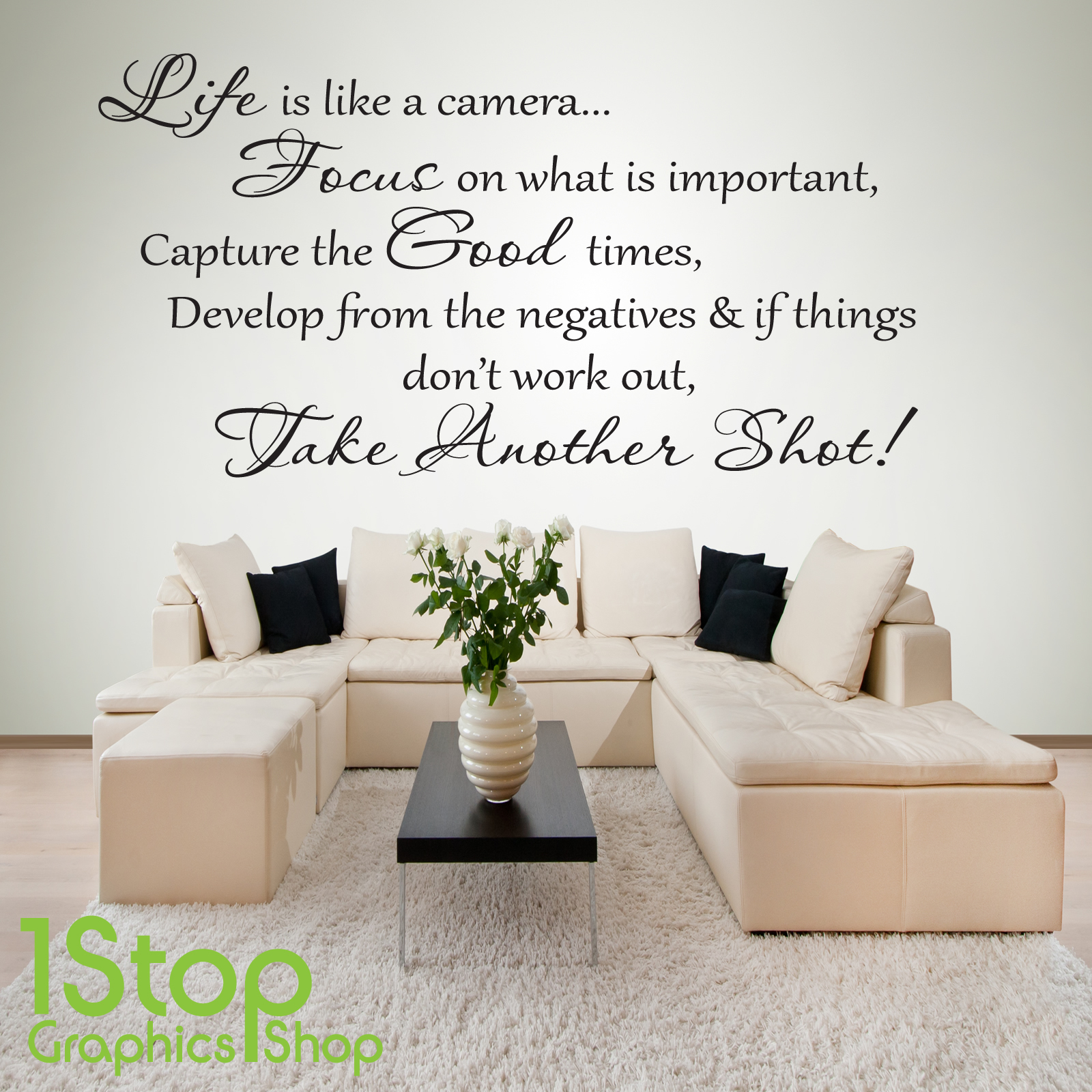 Life Is Like A Camera Wall Sticker Quote Bedroom Home Wall Art