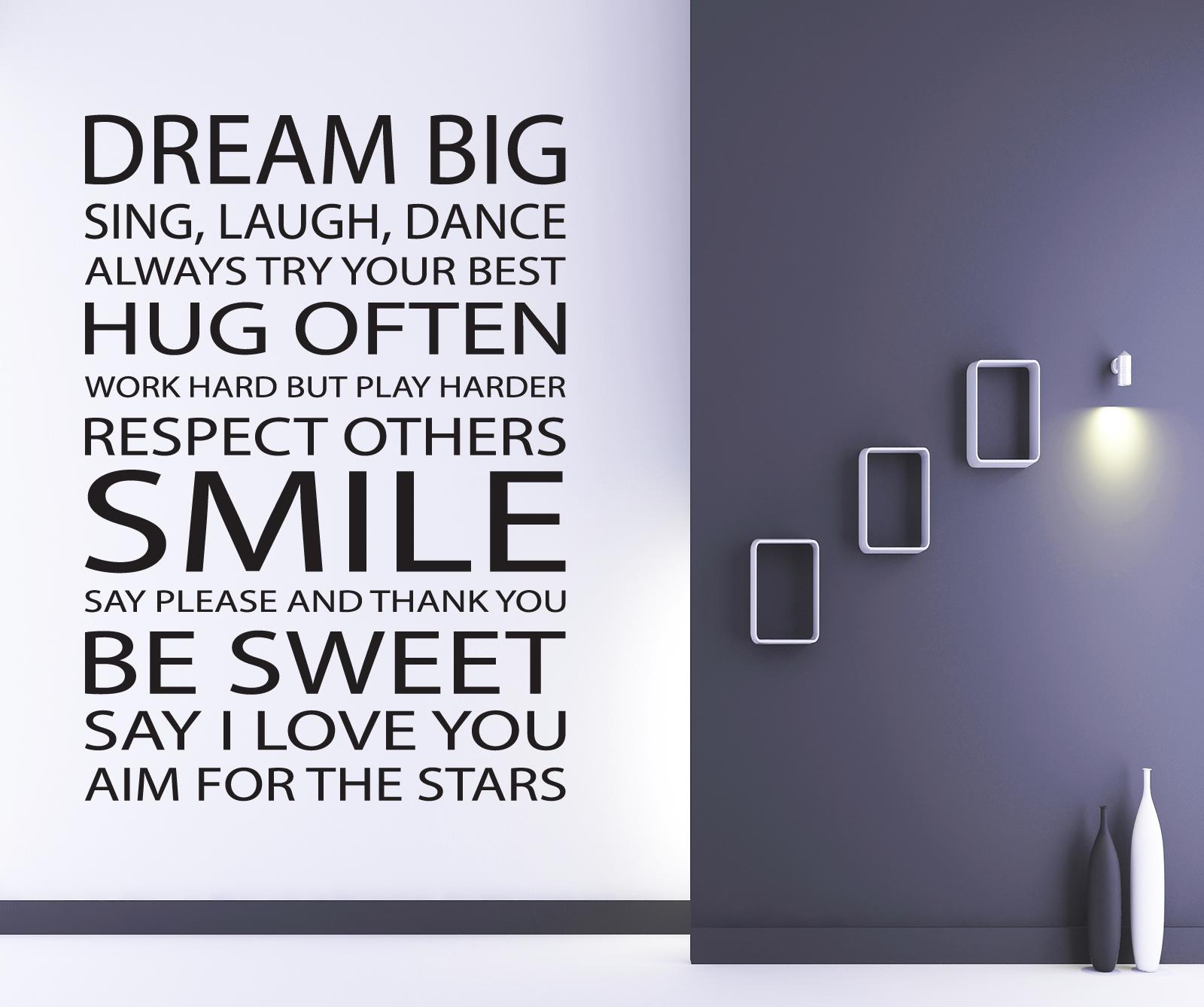 Detalles De Sueña A Lo Grande Frase En Una Calcamonía Mural Salón Dormitorio Adhesivo X210