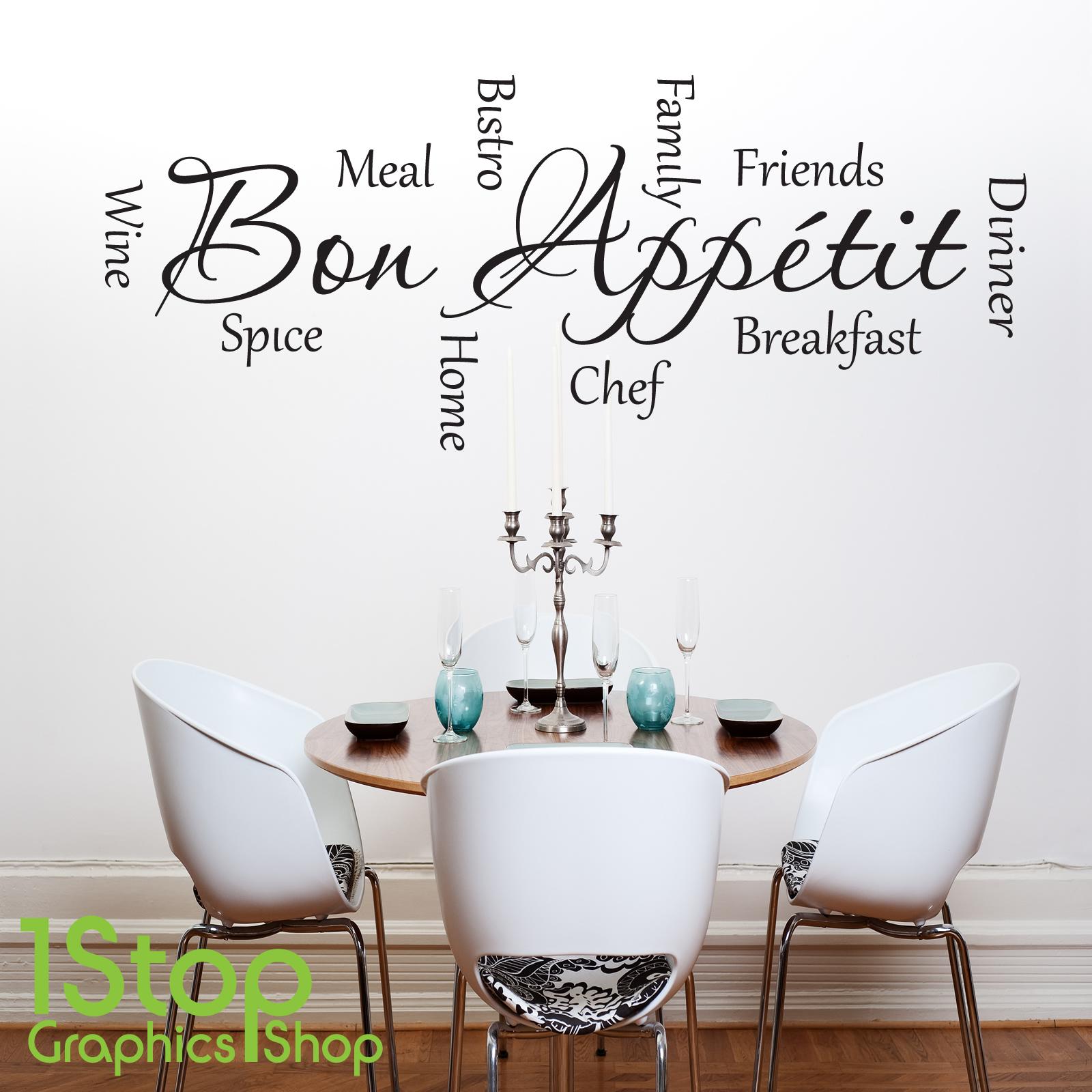 Bon appetit citation autocollant mural cuisine maison d co d calcomanie x281 ebay - Stickers pour cuisine decoration ...