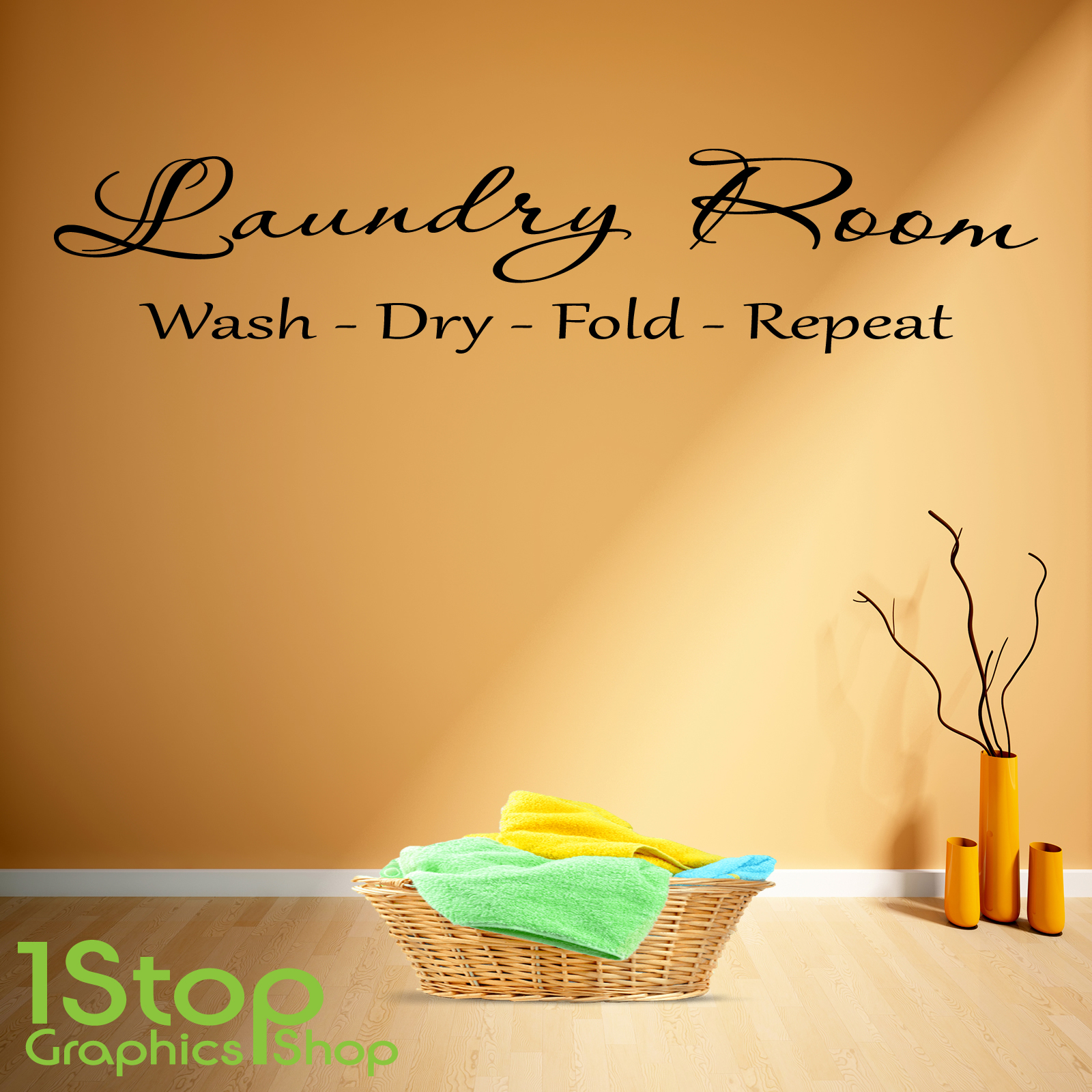 LAUNDRY ROOM WALL STICKER QUOTE - KITCHEN HEART HOME WALL ART DECAL ...