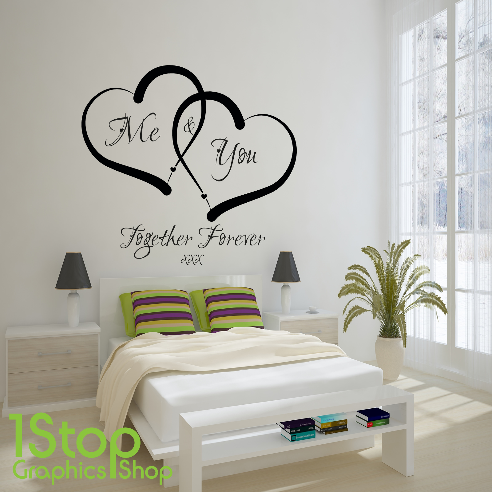 Me and you love heart wall sticker quote home wall art for Bed frame wall decal
