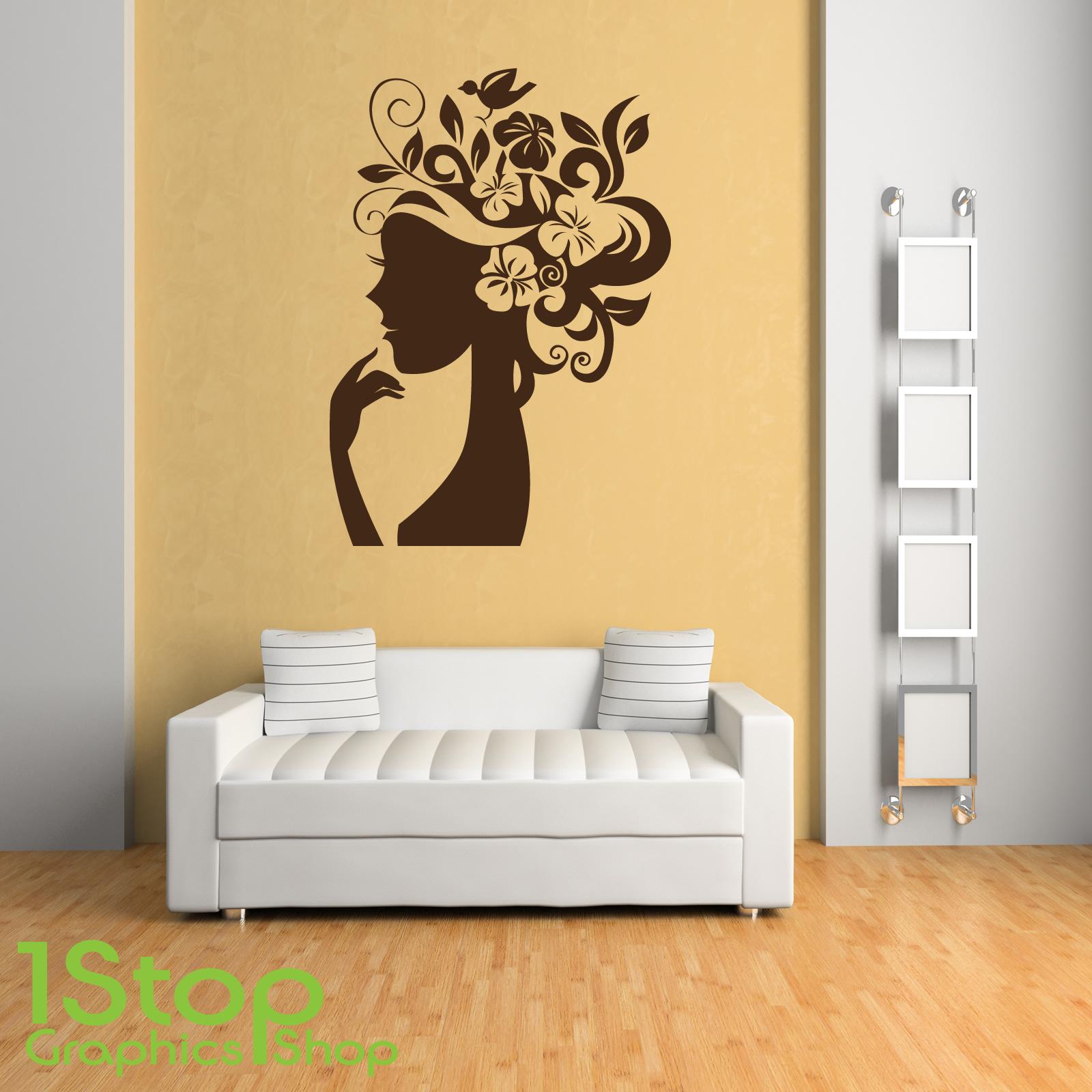 WOMEN SILHOUETTE WALL STICKER - BEDROOM LOUNGE WALL ART DECAL X392 ...