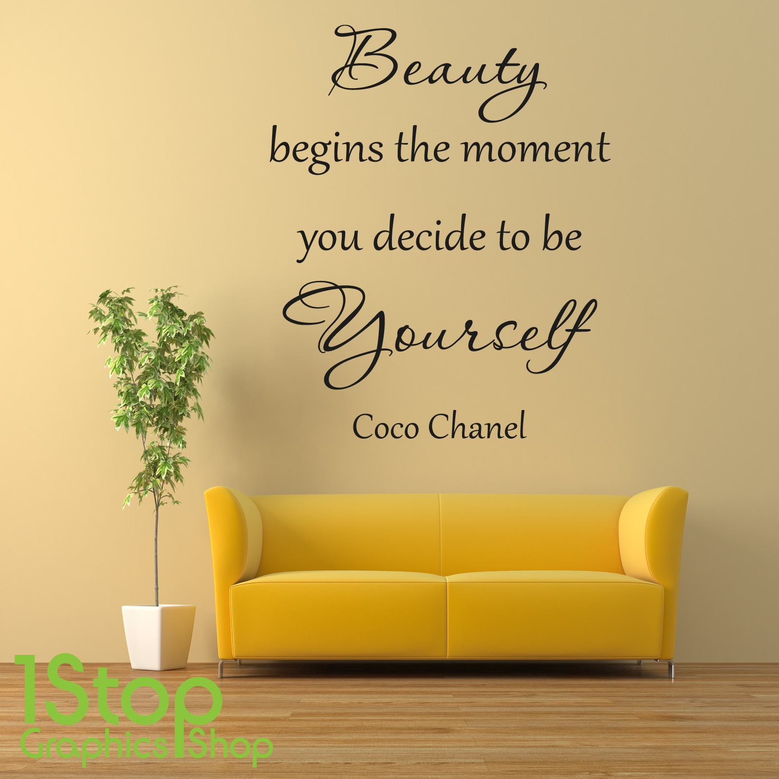 BEAUTY BEGINS COCO CHANEL WALL STICKER - BEDROOM LOUNGE WALL ART ...