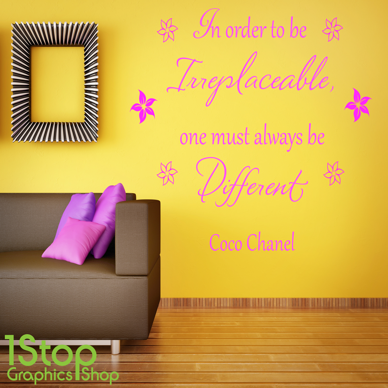 COCO CHANEL BE DIFFERENT WALL STICKER - BEDROOM LOUNGE WALL ART ...