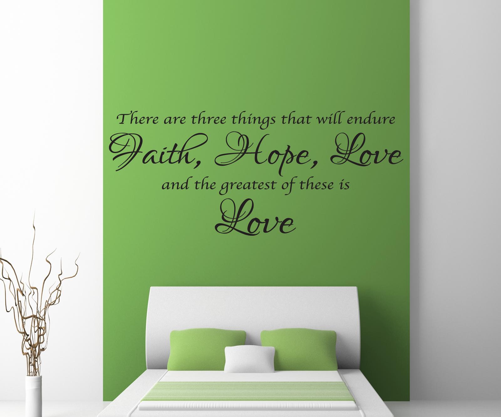 Detalles De Fe Esperanza Amor Frase En Una Calcamonía Mural Salón Dormitorio Adhesivo X87