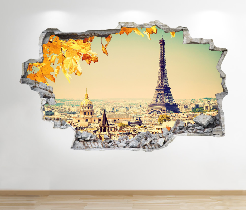 PARIS WALL STICKER 3D LOOK - BEDROOM LOUNGE EIFFEL TOWER CITY WALL ...